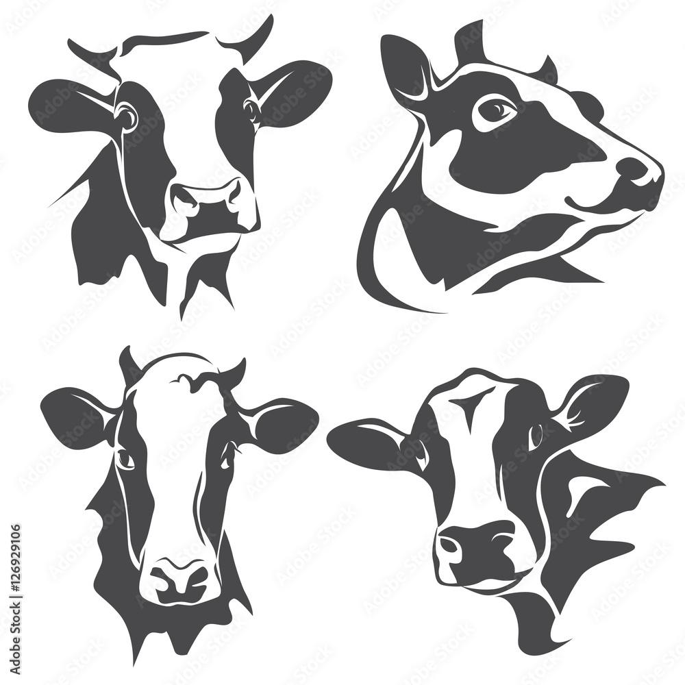 Fototapeta cow head portrait, set of stylized vector symbols