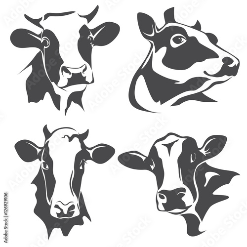 Canvastavla cow head portrait, set of stylized vector symbols