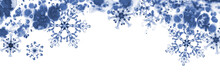 Greeting Banner With Blue Snowflakes And Frosty Pattern. Hand-painted Illustration