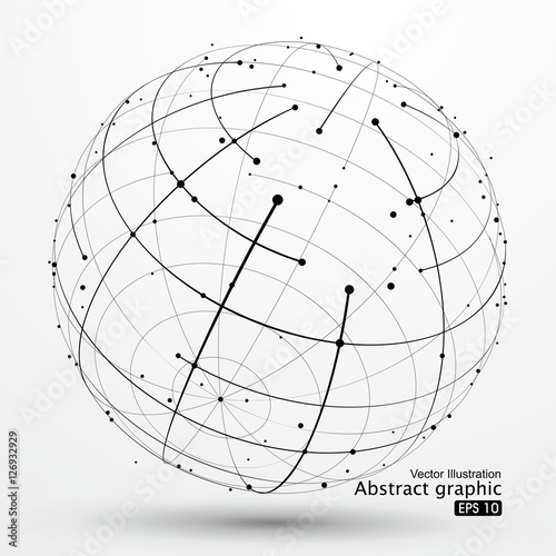Fotografía  Point and curve constructed the sphere wireframe, technological sense abstract illustration