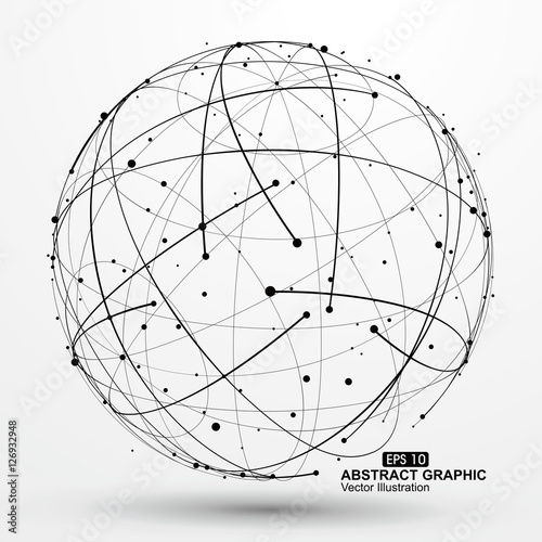 Photo  Point and curve constructed the sphere wireframe, technological sense abstract illustration