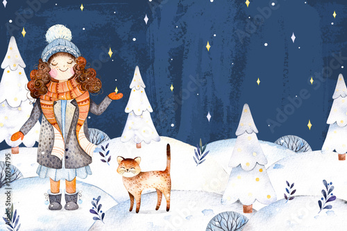 e0f7c7b7d0ad0 Christmas and New Year collection.Watercolor handpainted illustration with  a cute girl in a wool
