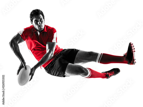 Fototapeta rugby man player silhouette isolated