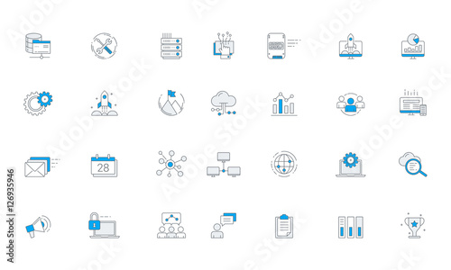 Software Business Futuristic Icon Set Vector