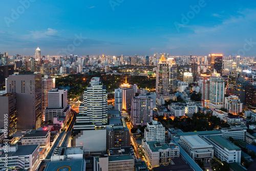 In de dag Milan Bangkok night view with skyscraper in business district in Bangkok