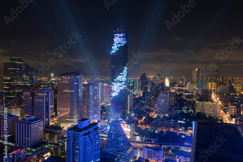 Light and sound show on Mahanakhon building in Bangkok, Thailand. Canvas Print