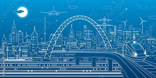 Fotografía  Industrial and transportation illustration, train rides on the bridge, urban sky