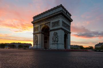 Fototapeta na wymiar Arc de Triomphe and Champs Elysees, Landmarks in center of Paris.