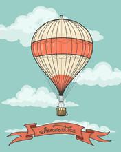 Retro Hot Air Balloon Airship Artistic Background With Vintage Aeronautics Ribbon. Vector Illustration