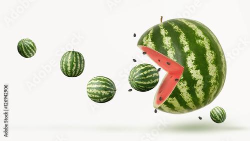 Fotografie, Obraz  funny pacman watermelon