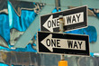 One way street signs in New York City.