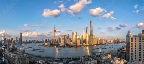panoramic view of shanghai skyline and huangpu river in nightfall , China Canvas Print