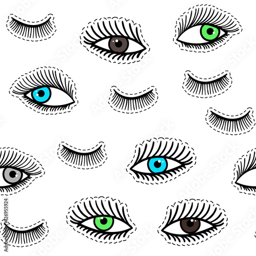 Hand drawn fashion patches eyes, eyelash seamless pattern