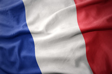 Waving Colorful Flag Of France.