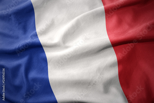 waving colorful flag of france. Obraz na płótnie