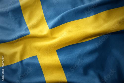 Plakat  waving colorful flag of sweden.