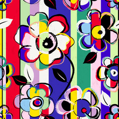 Fototapeta Wieloczęściowe abstract flower background composition, vector