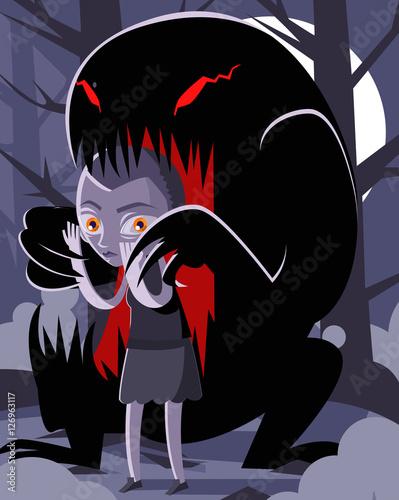 Obraz na płótnie stranger teen girl in the woods and monster black creature