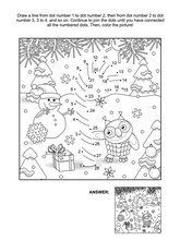 New Year Or Christmas Themed Connect The Dots Picture Puzzle And Coloring Page With Candy Cane. Answer Included.