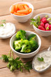 broccoli,radish and carrot with dip