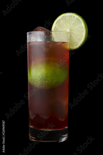 Photo  El Diablo Drink, consisting of tequila, creme de cassis, ginger ale and lime juice