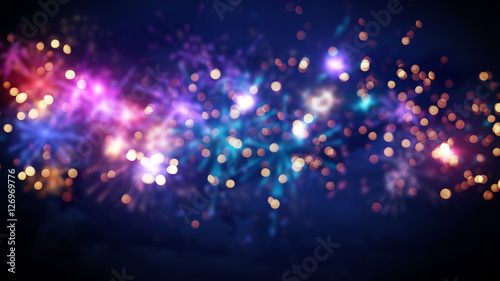 Fotografiet  beautiful blur fireworks abstract background