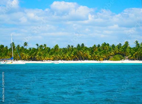 Foto op Plexiglas Caraïben Tropical beach in the Caribbean, sailing, island Saona, Dominican Republic.