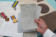 World War One, Letter From The Trenches With Medals.