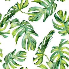 Naklejka Do kuchni Seamless watercolor illustration of tropical leaves, dense jungle. Hand painted. Banner with tropic summertime motif may be used as background texture, wrapping paper, textile or wallpaper design.