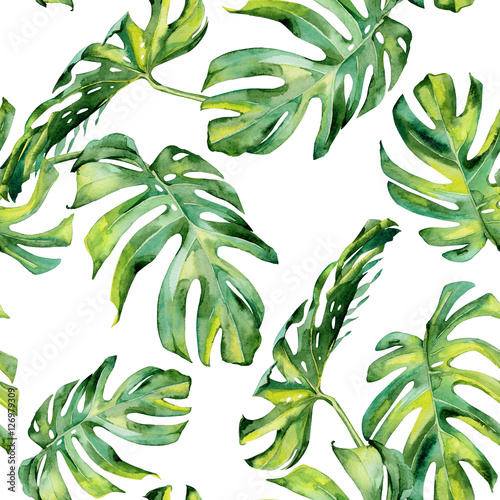 Foto-Vinylboden - Seamless watercolor illustration of tropical leaves, dense jungle. Hand painted. Banner with tropic summertime motif may be used as background texture, wrapping paper, textile or wallpaper design. (von annaveroniq)