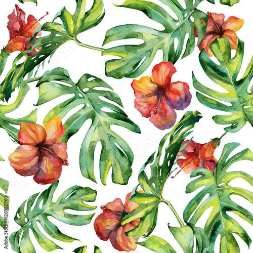 bezszwowa-akwareli-ilustracja-tropikalni-liscie-zwarta-dzungla-malowane-recznie-banner-z-motywem-tropic-summertime-moze-byc