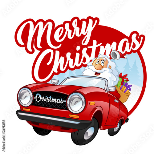 Staande foto Cartoon cars Funny Santa Claus, he is driving a red car