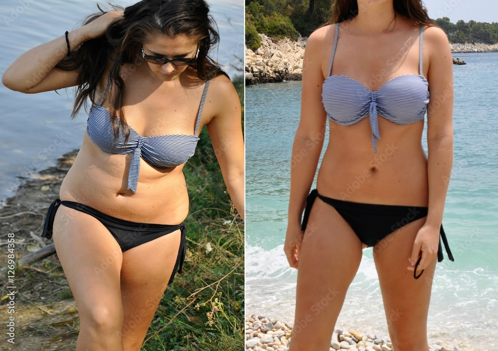 Fototapeta Real before and after weight loss photo of woman body in bikini