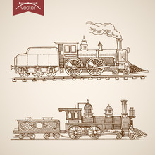 Engraving Hand Vector Railway Transport Train