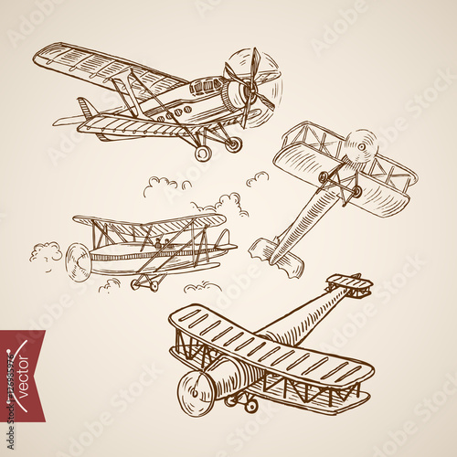 Valokuvatapetti Engraving vintage hand drawn vector Air transport plane doodle