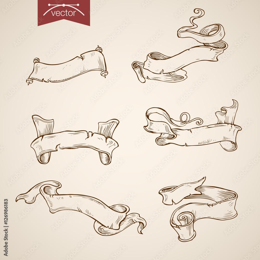 Valokuva  Engraving vintage vector header label doodle Sketch ribbon tag.