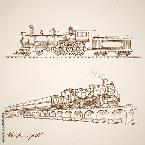 Valokuvatapetti Engraving hand vector Railway transport train