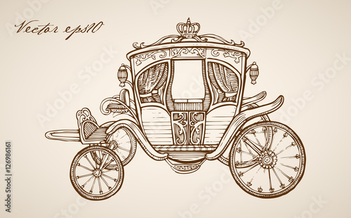 Fotografia, Obraz  Engraving hand vector carriage Pencil Sketch transport