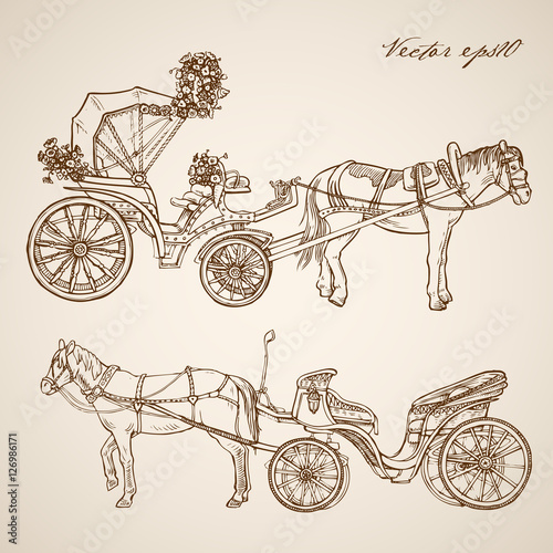 Fotografija  Engraving hand vector horse carriage Pencil Sketch transport