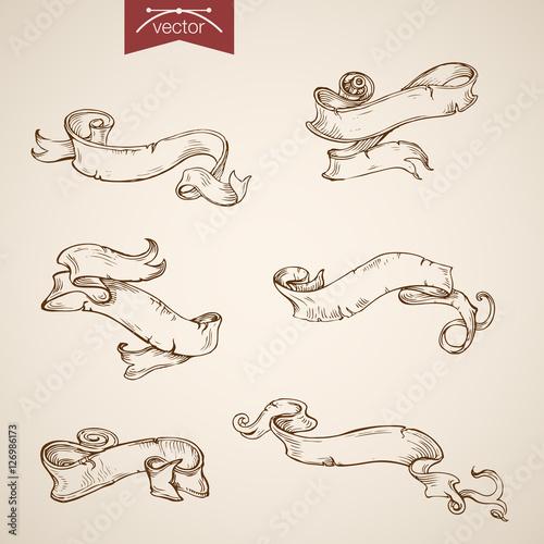 Engraving vintage vector header label doodle Sketch ribbon tag. Canvas Print