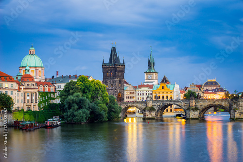 Foto op Aluminium Praag River Vltava at Dusk Prague Czech Republic