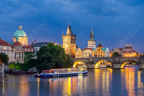 Fotografie, Obraz  River Vltava at Dusk Prague Czech Republic