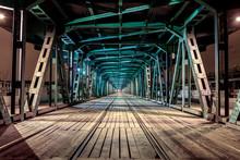 Perspective Rail Bridge By Night