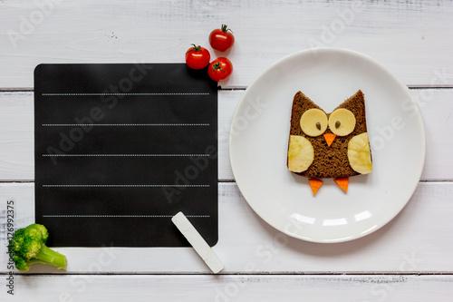 kids menu owl shaped sandwich place for text top view