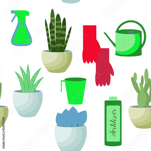 Fotografie, Tablou  Seamless vector pattern of drawn house plants.