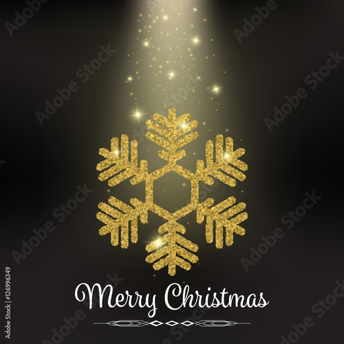 Beautiful Gold Glitter Snowflake On Black Background Vector Sparkling Merry Christmas Card Stardust