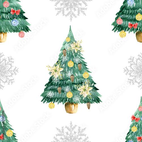 Stoffe zum Nähen Nahtlose Muster mit Weihnachtsbaum und Schneeflocken. Aquarell von Hand gezeichnet