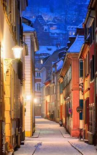 Narrow side street in Heidelberg old town, Germany