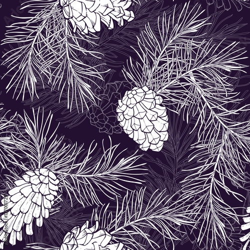 Cotton fabric Hand-Drawn seamless pattern with pine cones and branches of coniferous evergreen tree