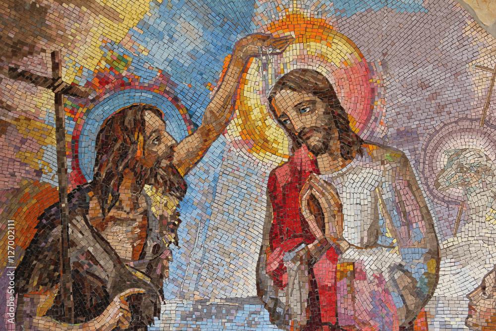Fototapety, obrazy: MEDJUGORJE, BOSNIA AND HERZEGOVINA, 2016. Mosaic of the baptism of Jesus Christ by Saint John the Baptist as the first Luminous mystery.